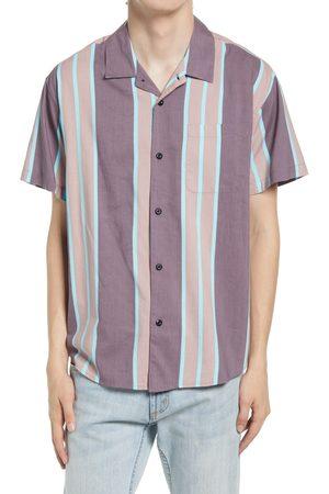 Obey Men's Fiction Stripe Short Sleeve Button-Up Camp Shirt