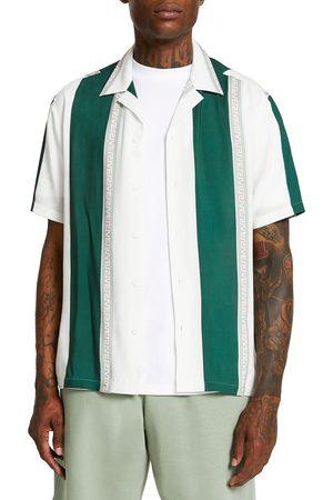 River Island Men's Geo Stripe Short Sleeve Button-Up Camp Shirt