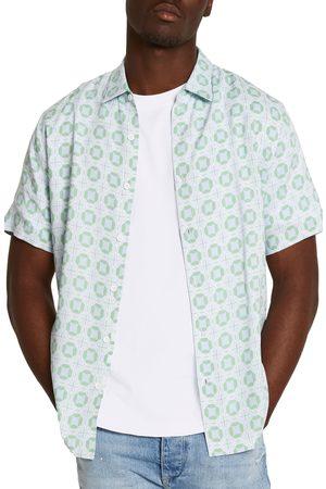 River Island Men's Tile Print Short Sleeve Button-Up Shirt