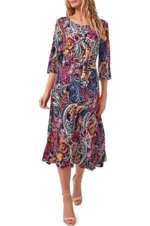 Chaussmoi Women's Belted Split Sleeve Midi Dress