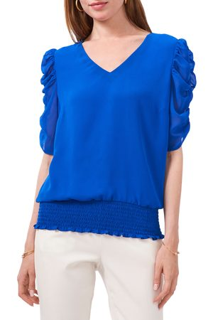 Chaussmoi Women's Ruched Sleeve V-Neck Blouse