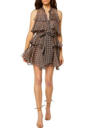 MISA Women's Emogene Geo Print Sleeveless Tiered Ruffle Dress
