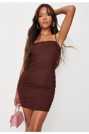 Missguided Chocolate Mesh Ruched Strappy Mini Dress