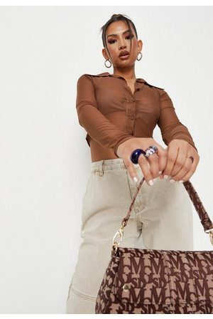 Missguided Chocolate Mesh Bralette Cropped Shirt