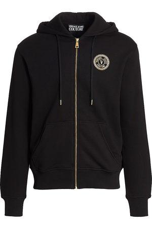 VERSACE Emblem Zip-Up Hoodie Sweatshirt