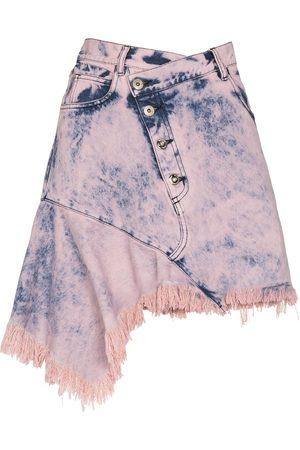 Marques'Almeida Asymmetric dyed denim mini skirt