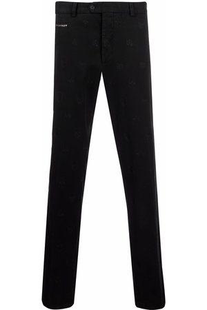 Philipp Plein Men Skinny Pants - Embroidered skull trousers