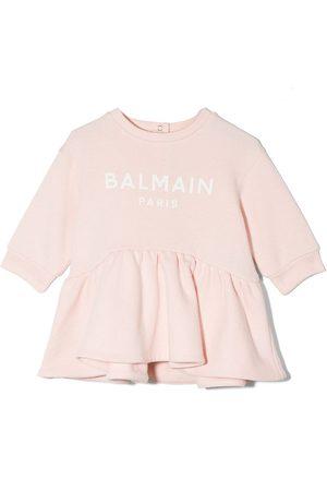 Balmain Baby Casual Dresses - Logo print pleated sweater dress