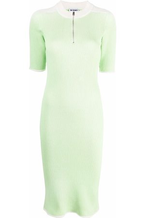 SUNNEI Women Casual Dresses - Ribbed-knit cotton polo dress