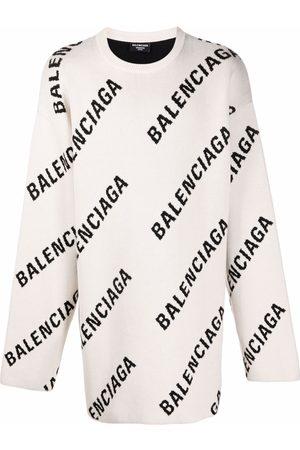 Balenciaga Men Sweatshirts - Logo print jumper - Neutrals