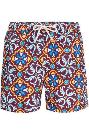 MC2 Saint Barth Men Swim Shorts - Ceramic-print drawstring swim shorts