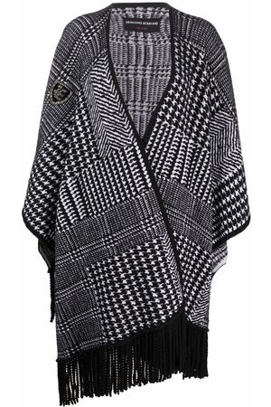 ERMANNO SCERVINO Women Ponchos & Capes - Fringed-edge houndstooth-knit poncho