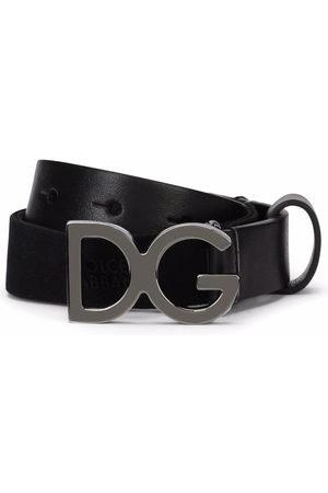 Dolce & Gabbana Boys Belts - Logo-buckle leather-trim belt