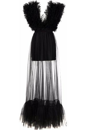 Alchemy Plunge-neck tulle floor length dress