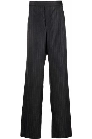 Thom Browne Men Formal Pants - Pinstripe wide-leg tailored trousers - Grey
