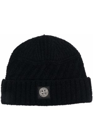 Stone Island Boys Beanies - Logo-patch knitted beanie
