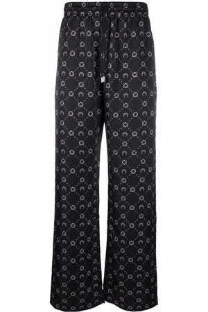 Marine Serre Men Sweatpants - Crescent moon-print drawstring pants