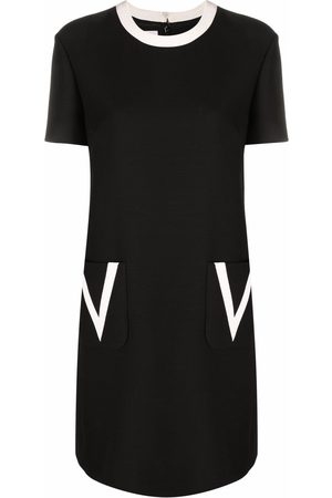 VALENTINO Women Dresses - Contrasting-trim short-sleeve dress