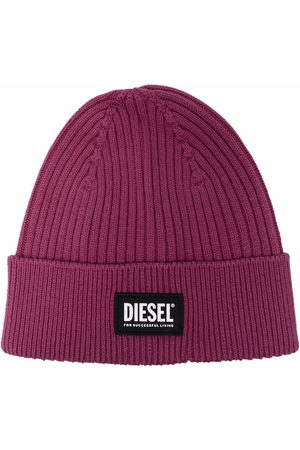 Diesel Beanies - Logo-patch ribbed-knit beanie