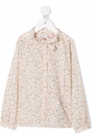 BONPOINT Girls Blouses - Printed cotton blouse - Neutrals