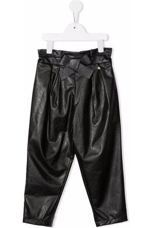 Elisabetta Franchi La Mia Bambina Girls Leather Pants - Vegan leather paperbag-waist trousers