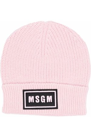 Msgm Logo-embroidered knitted beanie