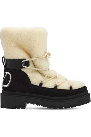 VALENTINO GARAVANI 40mm Shearling & Suede Winter Boots