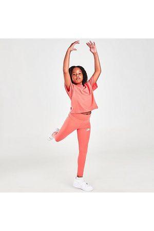 Nike Girls' Sportswear Favorites High-Rise Leggings in Pink/Magic Ember Size Small Cotton