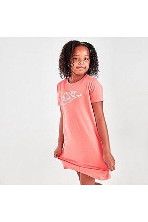 Nike Girls' Sportswear Futura T-Shirt Dress in Pink/Magic Ember Size Small 100% Cotton/Jersey