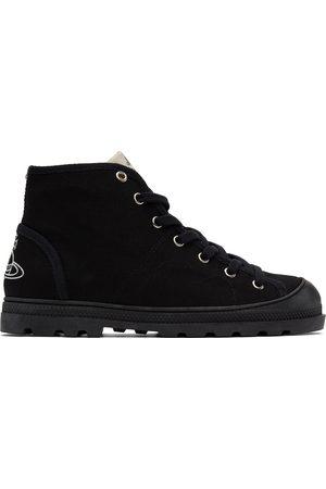 Vivienne Westwood Men Boots - Black Canvas Logo Simian Boots