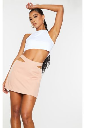 PRETTYLITTLETHING Peach Woven Cut Out Mini Skirt