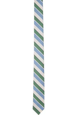 Thom Browne Men Neckties - Off-White & Blue Bold Rep Stripe Classic Tie