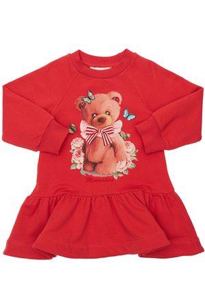 MONNALISA Bear Print Cotton Sweat Dress