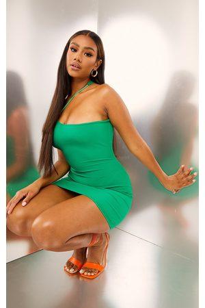PRETTYLITTLETHING Women Asymmetrical Dresses - Ribbed Asymmetric Neck Detail Bodycon Dress