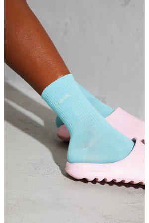PRETTYLITTLETHING Women Socks - Aqua Ribbed Socks