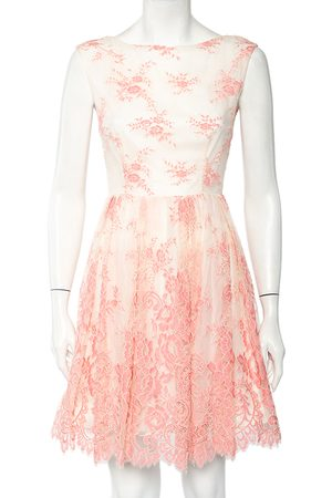 ALICE+OLIVIA Women Party Dresses - Off- & Pink Floral Lace Sleeveless Mini Dress S