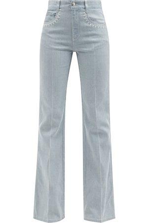 Chloé Topstitched High-rise Flared-leg Jeans - Womens - Light Denim