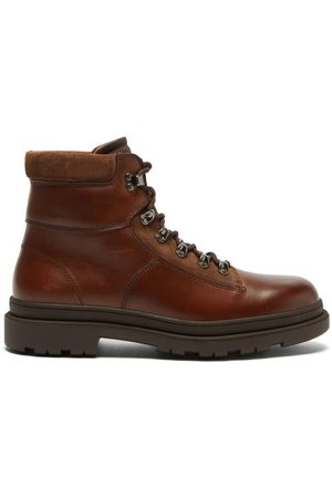 Brunello Cucinelli Men Ankle Boots - Lace-up Leather Ankle Boots - Mens - Dark
