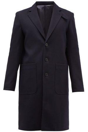 Officine Générale Men Coats - Diego Felted Wool-blend Overcoat - Mens - Navy