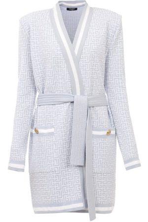 Balmain Women Cardigans - Monogram-jacquard Wool-blend Wrap Cardigan - Womens