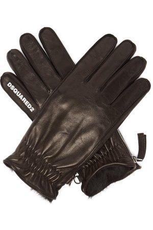 Dsquared2 Men Gloves - Logo-print Fur-lined Leather Gloves - Mens