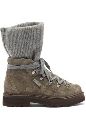Brunello Cucinelli Cashmere-cuff Suede Hiking Boots - Womens - Dark Grey