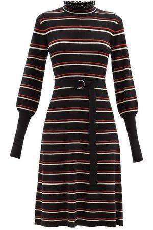 Chloé Ruffle-neck Striped Wool-blend Jersey Dress - Womens - Multi