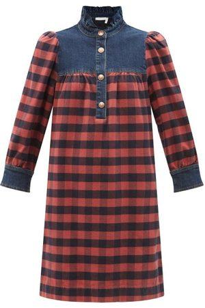 See by Chloé Women Casual Dresses - Denim-trim Checked Cotton-flannel Shirt Dress - Womens - Multi