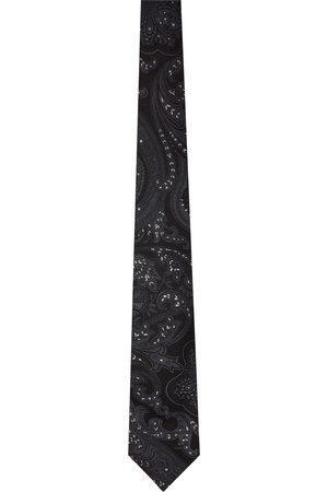 Etro Men Neckties - Black & White Paisley Tie