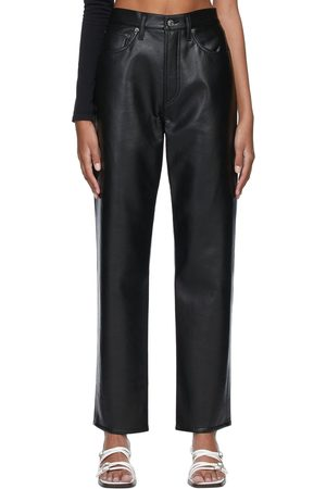 AGOLDE Women Leather Pants - Black 90s Recycled Leather Trousers