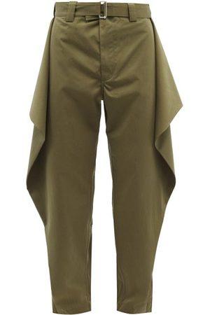 J.W.Anderson Men Wide Leg Pants - Draped-panel Twill Wide-leg Trousers - Mens - Khaki