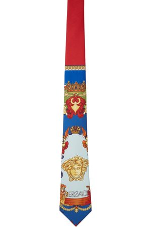 VERSACE Men Neckties - Red & Blue Medusa Renaissance Print Tie