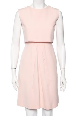 Dior Christian Crepe Overlay Detail Sleeveless Mini Dress S