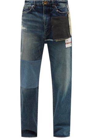 MIHARA YASUHIRO Hybrid Deconstructed Relaxed-leg Jeans - Mens - Navy